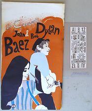1965 Joan Baez, Bob Dylan Handbill + Concert Ticket, Syria Mosque, Pittsburgh PA