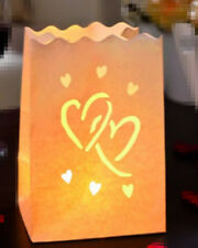 30x Twin-heart tealight candle paper bag luminary wedding party venue decoration