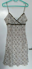 Principles Dress Linen Cream Brown Print Strappy Bead Sequin Summer Holiday UK12