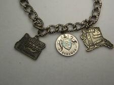 Vintage Silver Charm Bracelet 7 1/4 long w 3 Charms Oregon Alaska Bahamas 19.2Gr
