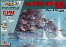 Battleship USS West Virginia (BB-48) card paper model 1:200 huge 95cm