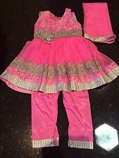 "18"" Age 1 Size Dress Bollywood Salwar Kameez Indian Girls Party Pink Silver"