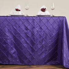 "Purple PINTUCK RECTANGULAR TABLECLOTH 90x156"" Wedding Party Catering Supplies"