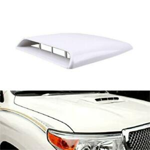 White Universal Decorative Air Flow Intake Hood Scoop Vent Bonnet Cover Fits Car