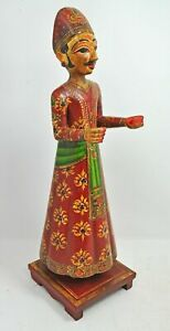 Wooden Isar Man Figurine Statue Hand Carved Hand Wood Fine Hand Painted