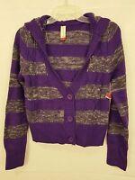 No Boundaries Juniors Cardigan Cable Knit Purple Striped Hood Size Large