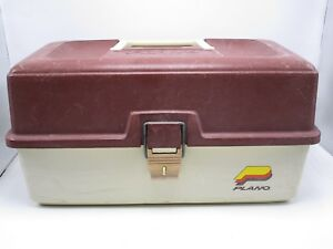 Vintage Plano 2300 Fishing Tackle Box Storage 2 Tray Plastic Beige And Brown