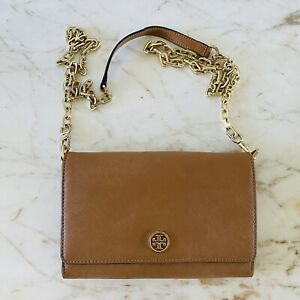 TORY BURCH Solid Brown Leather Chain Wallet Crossbody Bag