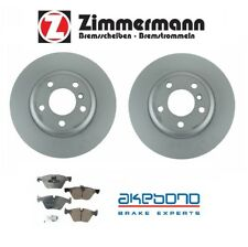 For BMW F10 5-Series 528i Set of 2 Front Brake Rotors & Pads Zimmermann Akebono