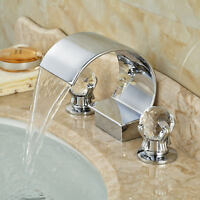 Vanity Chrome Bathroom Sink Faucet Waterfall Spout Dual glass Handles Mixer Tap