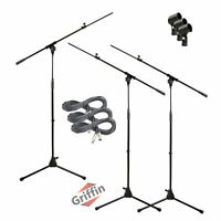 GRIFFIN Microphone Stand 3-PACK Boom Arm Holder XLR Cable Mic Clip Stage Studio