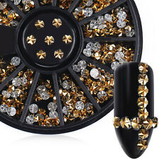 Gold Flower Rhinestone Round Flat Bottom 3D Nail Art Decoration in Wheel 3mm