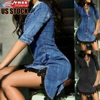 Sexy Womens Casual V Neck Bodycon Dress Ladies Club Party Mini Denim Jeans Dress