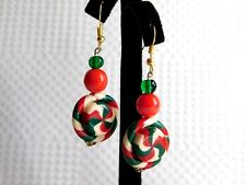 "UNIQUE 2.25"" CHRISTMAS HARD CANDY DROP DANGLE PIERCED EARRINGS HANDCRAFTED BEV"