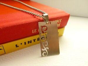 Collier Acier Homme Pendentif Plaque Ciselée + Chaine 50 cm - Bijoux des Lys