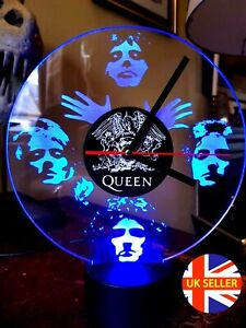 Queen, Freddie Mercury Acrylic Engraved LED Clock