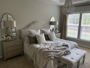 NINA HOME Natural Linen/Cotton Bedskirt - Queen