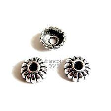 6 Caps calottes coupelles argenté 10X10X4mm Perles apprêts création  bijoux A366