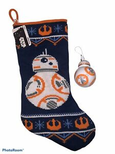 Disney Star Wars Knit Christmas Stocking BB-8 & Decoupage Ornament NEW