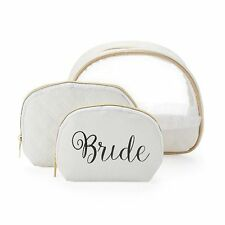 Mirror Mirror Bride Bridal White Domed Cosmetic Bags 3 Piece Matching Set NWTs