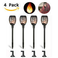 4x LED Solar Torch Light Wall Lamp  Flickering Dancing Flame Outdoor Waterproof