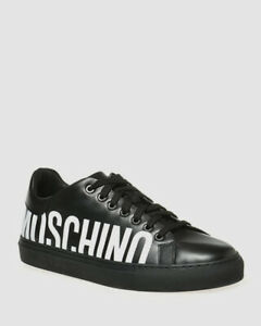 $499 Moschino Men's Black Logo Leather Low Top Sneakers Shoes Size 44/US 11