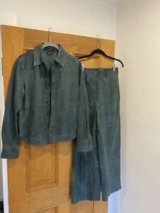 Women's SCOTCH & SODA Green Goat Leather Shirt & Trouser Set Size XS RRP £550