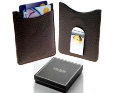 Jean Pierre Brown Leather Credit Card Holder & Money Clip Free Engraving D26Brn