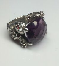 Sterling Silver Large Cushion Amethyst Ring with Citrine Accents Size 8.5