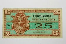 ONE  U.S. MILITARY PAYMENT CERTIFICATE 1954 ND SERIES 521 25 CENT NOTE KP#M31
