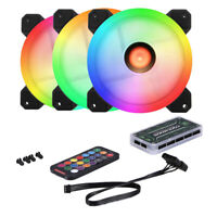 4 Pcs/ Set PC Cooling Fan 120mm 3 Fans RGB Silent CPU Cooler Fan with Controller
