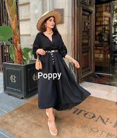 Zara Black Ruffles Long Frilled Dress Oversized Size M UK 10