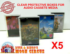 5x MUSIC CASSETTE TAPE - CLEAR PROTECTIVE BOX PROTECTOR SLEEVE CASE - ARCHIVAL