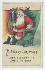 VINTAGE SANTA CLAUS SITTING ON CHAIR CHRISTMAS USED 1916