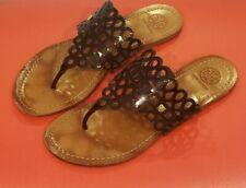 Tory Burch Patent Leather Flat Thong Black Leather Lattice Women's Size 7.5