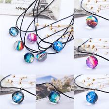 Womens Dreamy Crystal Ball Star Glass Galaxy Pattern Pendant Necklace Jewelry