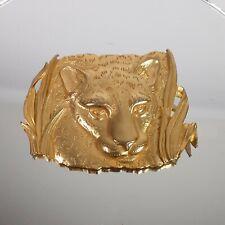 Vtg Jj Jonette Jewelry Cheetah Brooch Pin Bright Gold 1986 Jaguar Panther Jungle