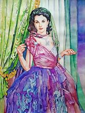 "11,69 × 15,75"" Vivien Leigh ~Lady Hamilton~ watercolor SIGNED and DATED"