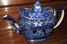 Antique Staffordshire Blue Transferware Tea Pot Denton Park Yorkshire Scene 1850