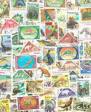 50 different dinosaurs stamps, prehistoric animals, pterodactyl, carnivore, used