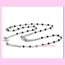 Corona collana girocollo Rosario con Crocifisso Madonnina sfere acciaio e nere