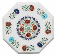 White Marble Sofa Coffee Table Top Lapis Marquetry Arts Inlay Bedroom Decor 12""