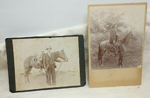 1900's Cowboys w/ Saddled Horses Pair of  Photographs
