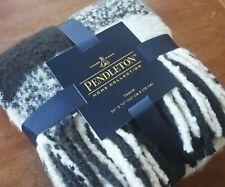 Pendleton Fringed Throw Blanket Black & Ivory Plaid Cozy & Soft Brushed Acrylic