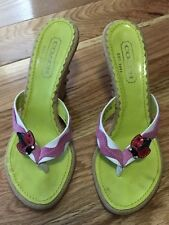 COACH Ladybug Burlap Wedge Sandals Swarvoski Crystals Limited Edition Sz 5.5 B