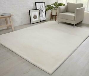 Natural Faux RABBIT FUR Rug Soft Wool Shaggy Thick Large Rugs Carpet Mat Cream