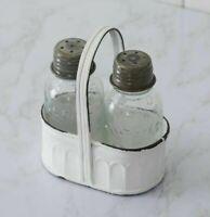 Shabby Cottage MASON JAR SALT PEPPER SET Farmhouse Chippy White Black Holder