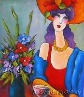 Modern Handmade abstract Oil Painting Art Canvas wall art Lady and flower AN147