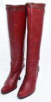 JOHN FLUEVOG Womens Sz 7 Red Leather Knee High Victorian High Heel Stitch Boots