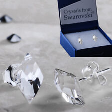 925 Sterling Silver Stud Earrings Flat Rhombus Clear Crystals from Swarovski®